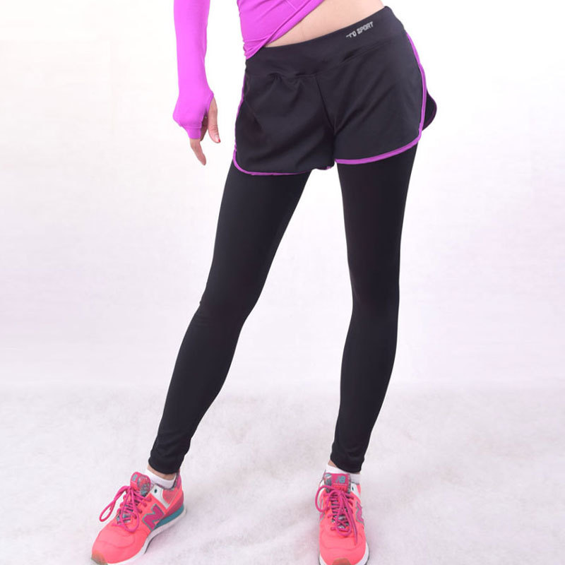 Women Workout Sports Leggings With Shorts Skirt Trousers ...
