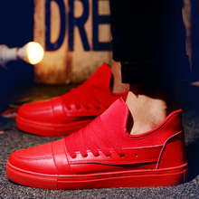 New Arrival Men Casual Shoes PU Leather Lace Up Flats Black Red Breathable Canvas Leisure Shoes British Style Men's Flats Shoes