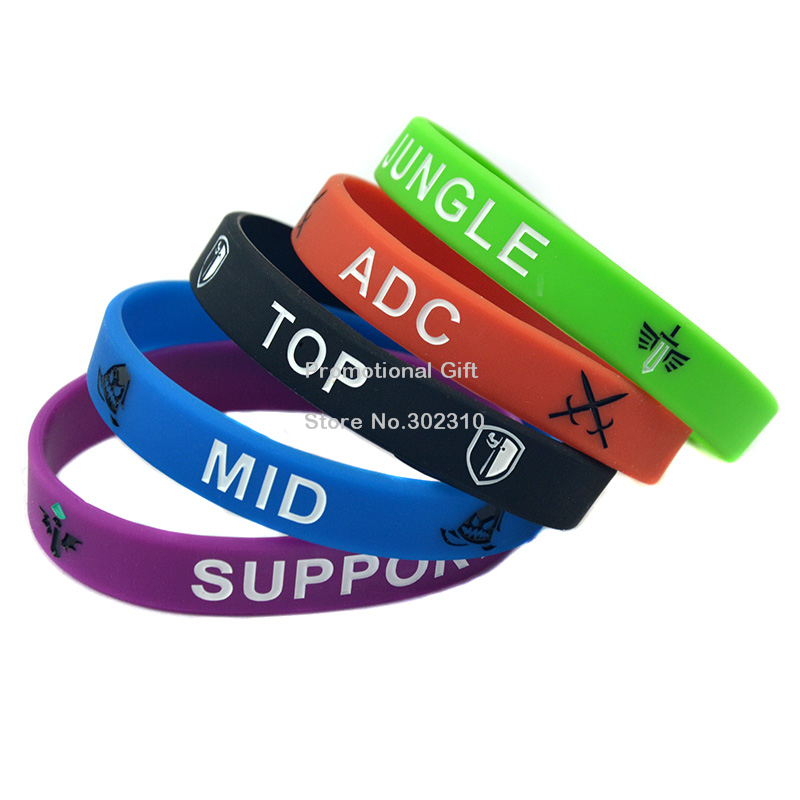 100PCS/Lot LOL Skill Debossed Silicone Wristband Bracelet With Saying ADC JUNGLE MID SUPPORT and TOP(China (Mainland))