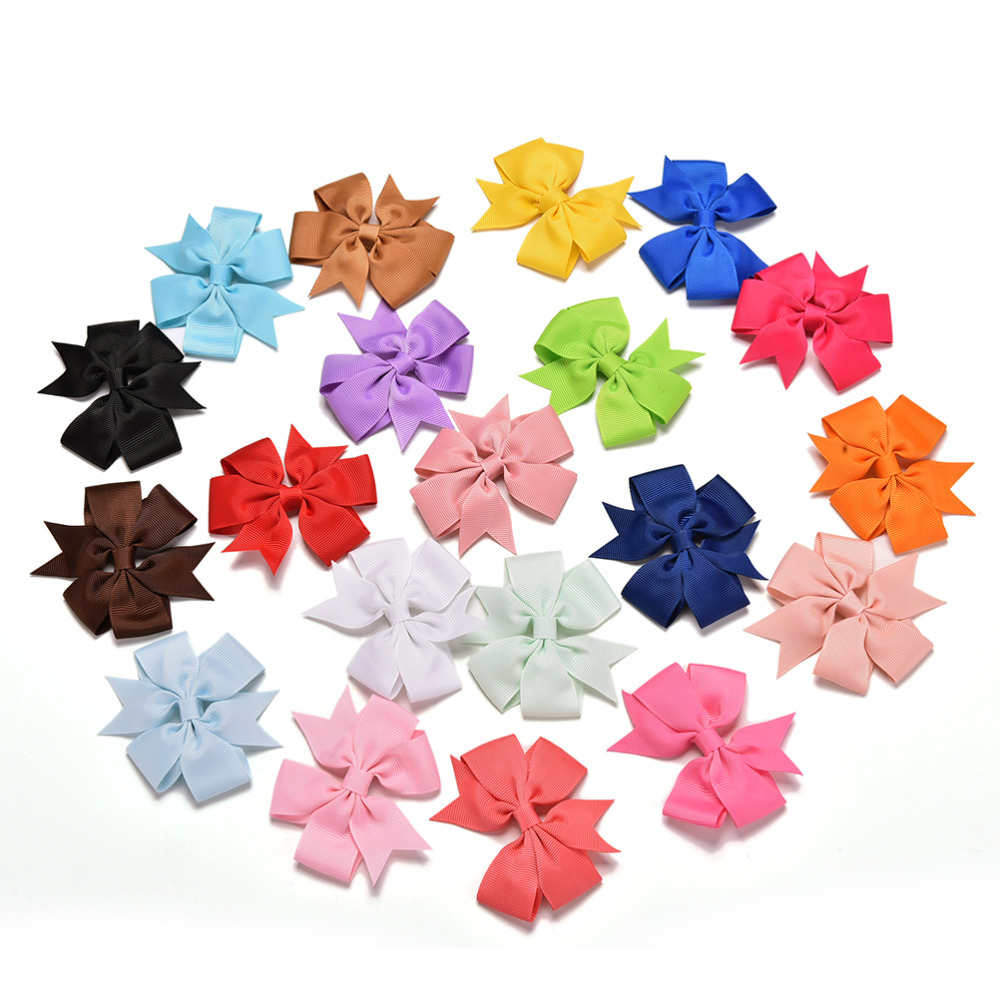 20pcs Mix Colors Kids Hair Accessories Boutique Baby Girl Ribbon Bows Clips Hairpin Girl's Butterfly Hairgrip Headware(China (Mainland))