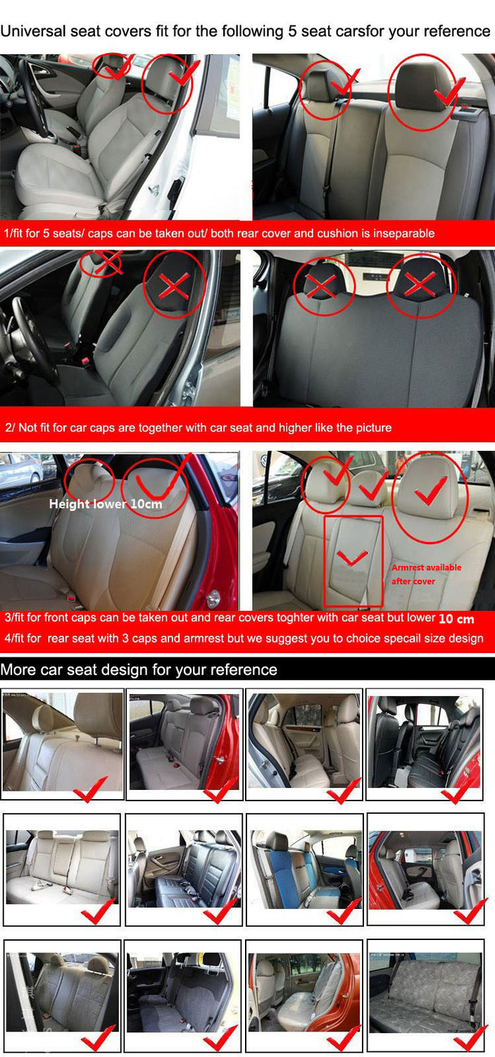 car seat cover universal for 5 seat standard 2/4/5 headrest rear seat back split 40/60 or not interior accessory auto car-covers