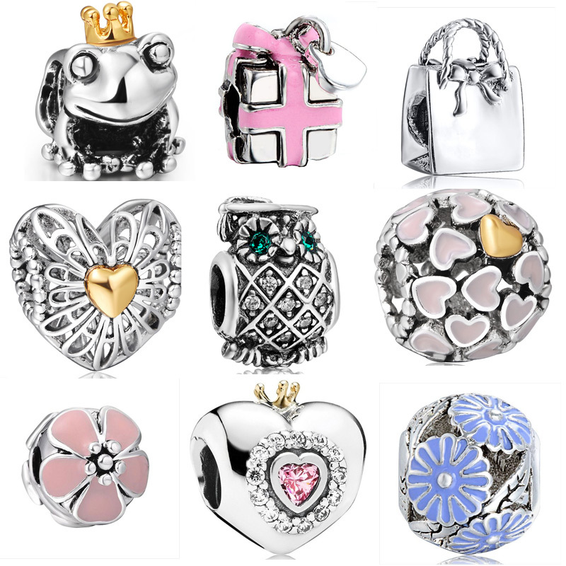 New Arrive heart-Shaped Crown Design Diy 925 Sterling Silver European Bead Charms Women Jewelry For Snake Bracelets Bangle(China (Mainland))