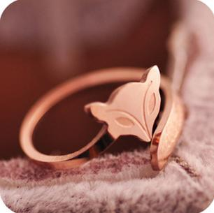 viviLady Fashion rose gold plated fox ring stainless steel material no color fade top quality free shipping MR112 Gift Jewelry(China (Mainland))