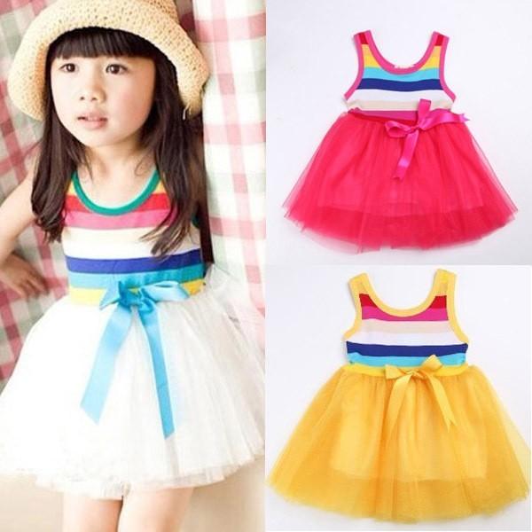 HABA Summer baby girl tutu rainbow cute sleeveless dress /white,yellow,rose red,light blue HB0003