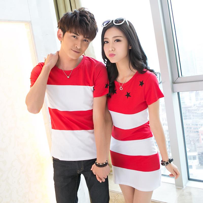 family korean couple shirts red orange dress for lovers