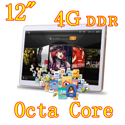 12 inch 8 core Octa Cores 1280X800 IPS DDR 4GB ram 32GB 8.0MP 3G Dual sim card Wcdma+GSM Tablet PC Tablets PCS Android4.4 7 9(China (Mainland))