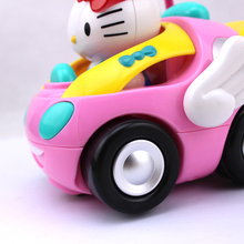 Brand New RC Car Free Shipping Children's Cartoon Kitty Remote Control Car Eelectric Toy with Lighting And Music Random Color(China (Mainland))