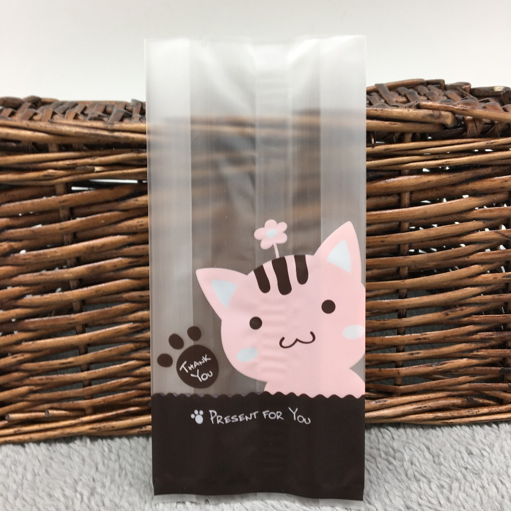 7cm*15cm 20Pcs Pink Cat Cookie Plastic Packing Bags Biscuit Cupcake Baked Food Package Pouches(China (Mainland))
