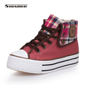 New 2016 Women 4 Colors High Upper Platform Canvas Shoes Woman Lace Up Casual Platform Casual