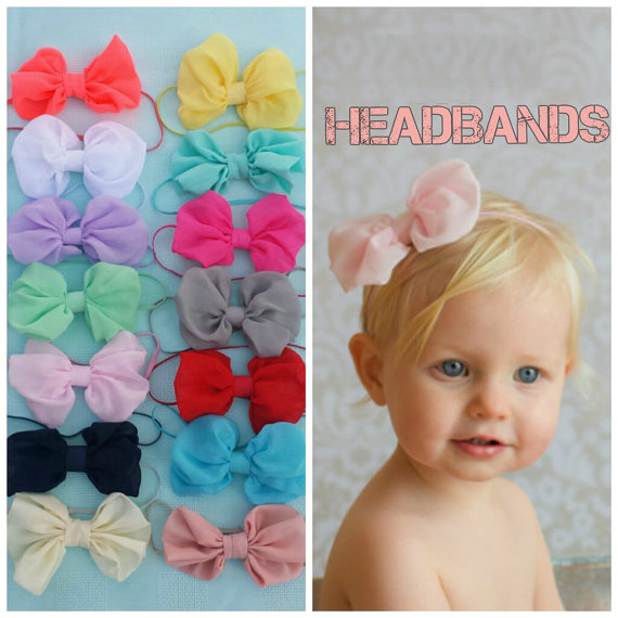 Chiffon Hair Bow Baby Headband Shabby Chic vintage Hairbow Girls Headband Fabric Knot Bow Newborn Prop Hair Accessories 10pcs(China (Mainland))
