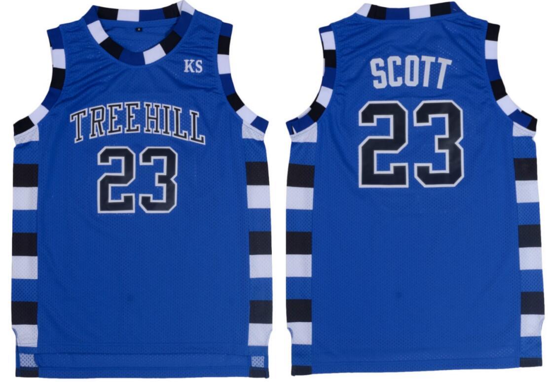 Blue Basketball Jerseys Cheap Throwback Jerseys Basketball Sleeveless Nathan Scott 23 One Tree Hill Ravens Basketball Jerseys(China (Mainland))