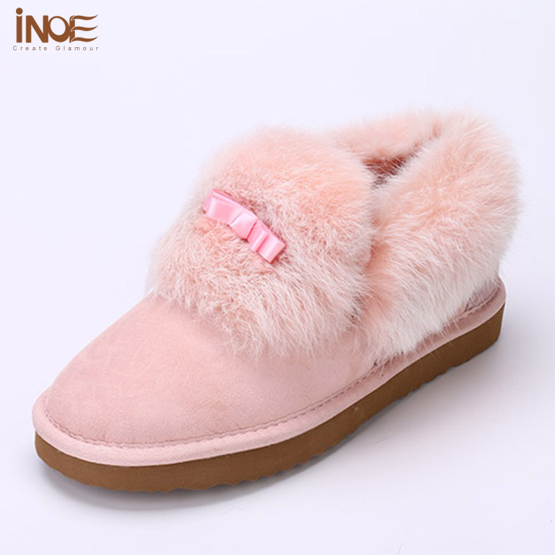 Pink fur boots women's shoes