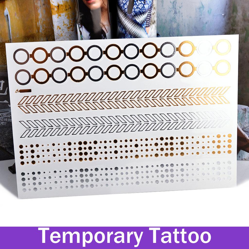 Fshion Temporary Tattoos Stickers Flash Tattoo Gold Silver Metallic Circle Bracelets 210*150Mm - atolla retail store