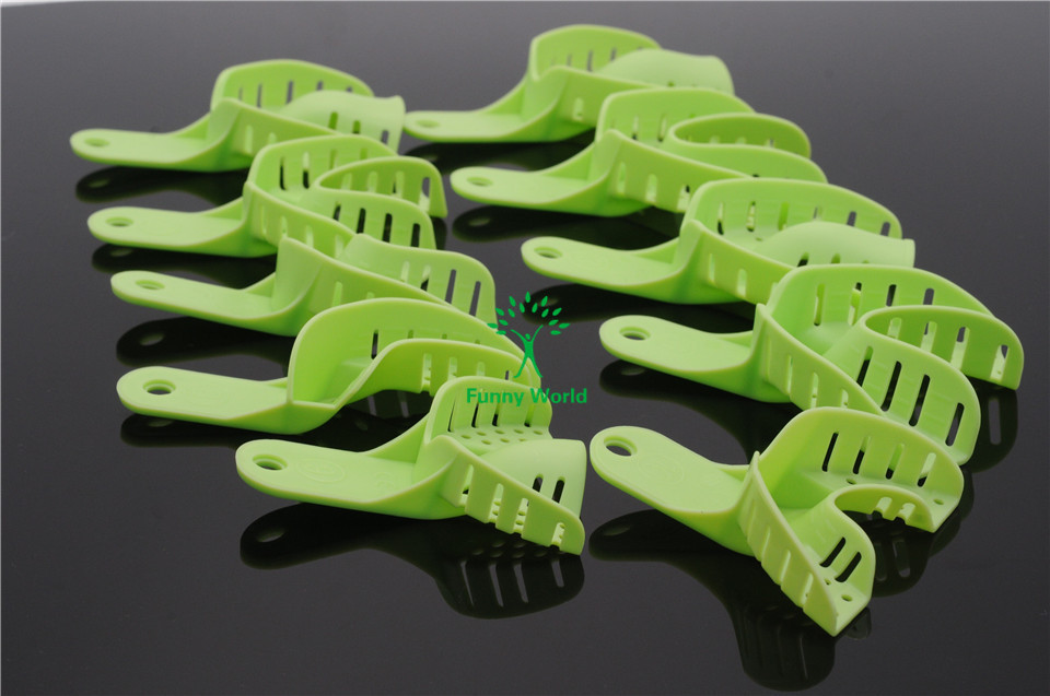 New Arrived Dental Autoclavable Central Green 10pcs/Bag Full Size Plastic Impression Trays(China (Mainland))