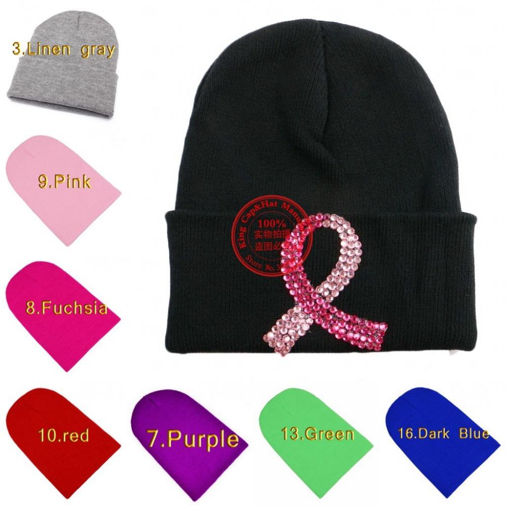 New design pink fuchsia mark women fashion beanie gorro wholesale crystal rhinestone decorate custom colorful girl winter hat(China (Mainland))