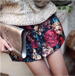 2015 Lanon Floral Promotion American Apparel Skirts Womens Saias New Winter Retro Temperament Custom Fabric Flowers Fluffy Skirt(China (Mainland))