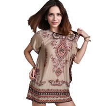 European and American ethnic Bohemia vintage O-neck Ice Silk Mini Beach Dress Khaki Loose vestidos Elastic Print Summer Dress
