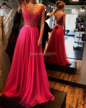 Elegant Real Photo Scoop A Line Chiffon Lace Beaded Sheer Rose Red Long Evening Dresses 2016 Robe De Soiree Backless Vestidos(China (Mainland))
