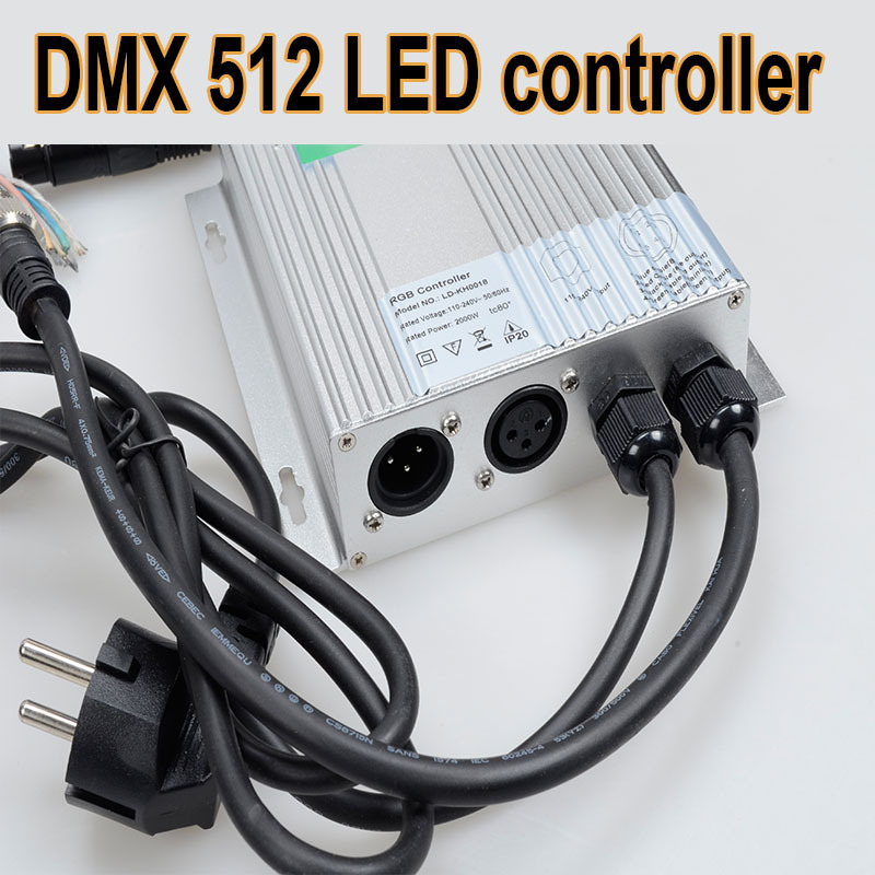 2015 Hot RGB Control for 5050 LED Strip Light 4 Wires Channels DMX 512 Controller Color Changing CE 220V(China (Mainland))