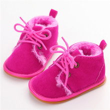Delebao New Fashion Solid Lace-Up Baby Boots Cross-tied For Autumn/Winter Baby Shoes For Warm  Baby Plush Boots Shoes Wholesale(China)