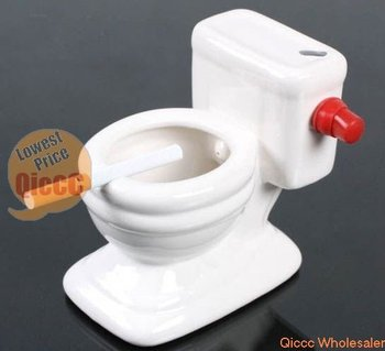 Wholesale 12pc/lot Toilet Ashtray Gag Novelty Gift Toy,Cute Ceramic Toilet Seat Ashtray