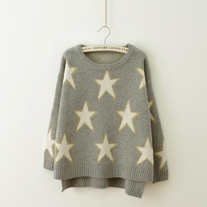 Womens Knitted Sweater Star Pattern Autumn Winter Ladies ...