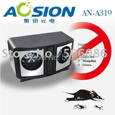 Dual speaker ultrasonic pests mouse repeller spiders lizards mosquitos cockroaches rats pest insect control repellent(China (Mainland))