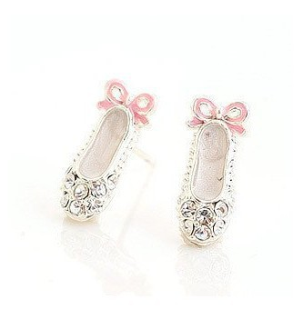 2015 Promotion Fashion Trendy Lovely White Rhinestone Shoes Pink Bowknot Stud Earrings For Women XY-E323(China (Mainland))