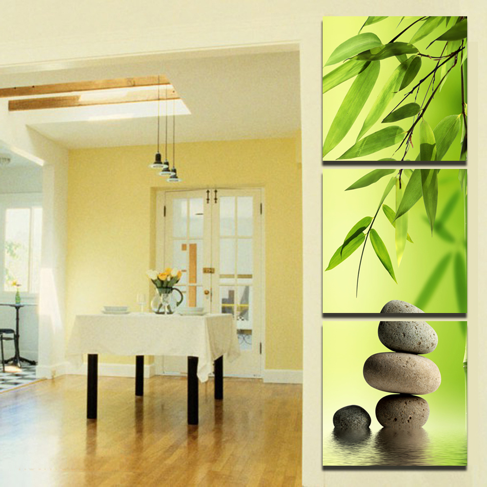 Giveaways wall sticker 3 PcsSet Bamboo and Stone Modern