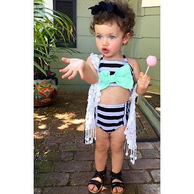Из двух частей бантом полоса девочек дети летняя купальник бикини установить 2 до 10Y