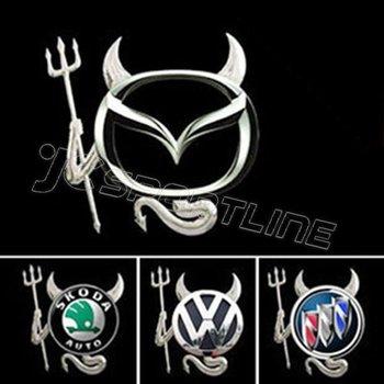 10pcs/set Pvc Flexible Plastic 3D Devil Design Car Logo Emblem Decoration Sticker Suitable for Any Car Body