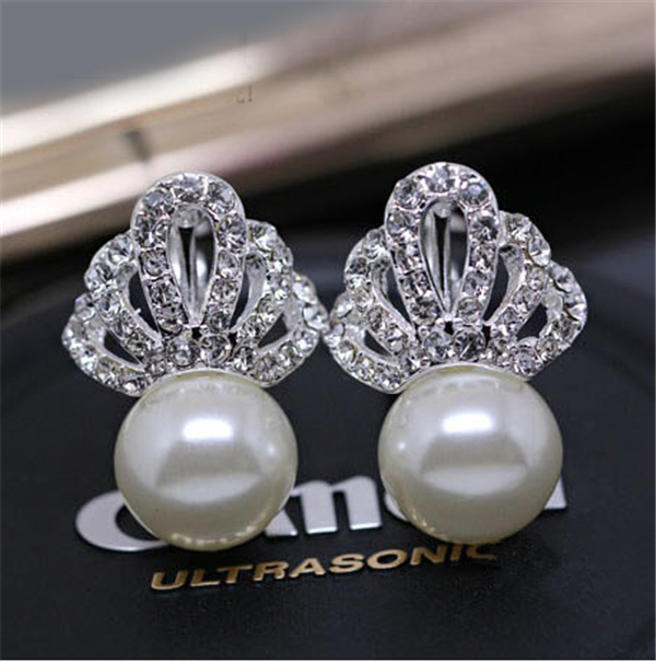 Austrian Crystal Jewelry Stud Earrings Women Party Silver/Gold Plated Crown Pearl Earring 2015 New Arrivel ES041 - sanson feng's store