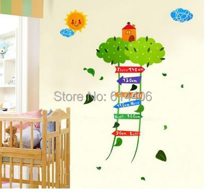 Wholesale DIY Removable Eco-friendly Kids Growth Chart Height Measure Wall Stickers Cartoon Decor For Kids Room 2PCS/LOT(China (Mainland))