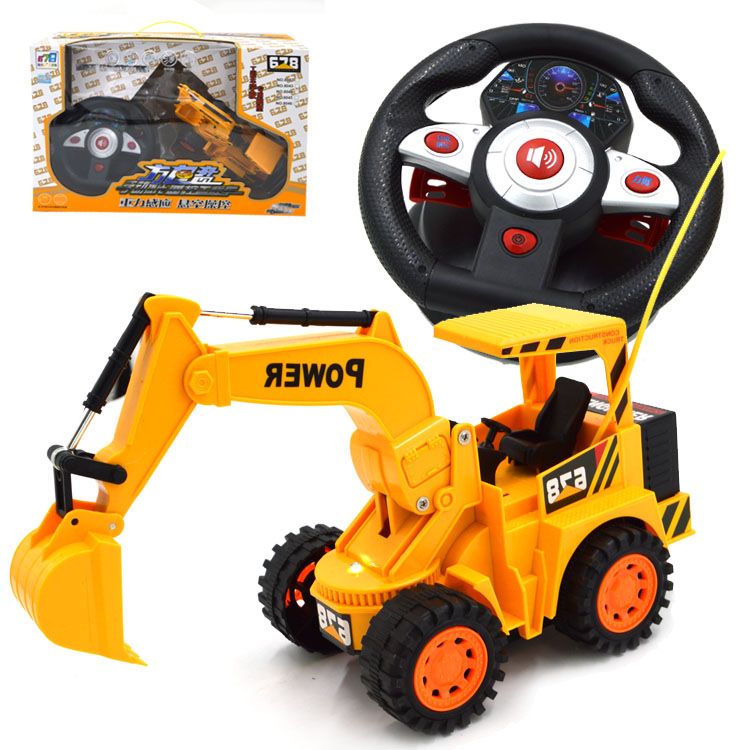 excavator toy rc 6 channel induction steering wheel music remote control excavator engineering excavadora juguete rc toy tractor(China (Mainland))