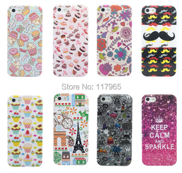 Thin summer Colorful tiled tower flower Painted PC Hard Case Cover Skin Gel Back For iphone 4 4s 5 5s dirt-resistant EC226/EC227(China (Mainland))