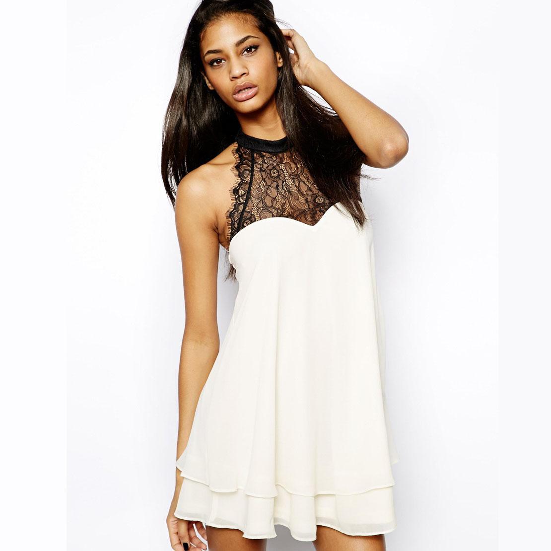 Back bow lace colorant match double layer chiffon medium-long sleeveless shirt haoduoyi - Fashion company store