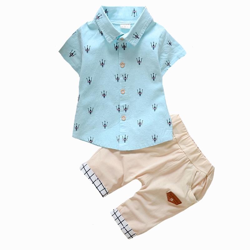 2016 New Fashion Kids Clothes Boys Summer Set Print Shirt + Short Pants Baby Boy Clothing Set Toddler Boy Summer Clothes Set(China (Mainland))