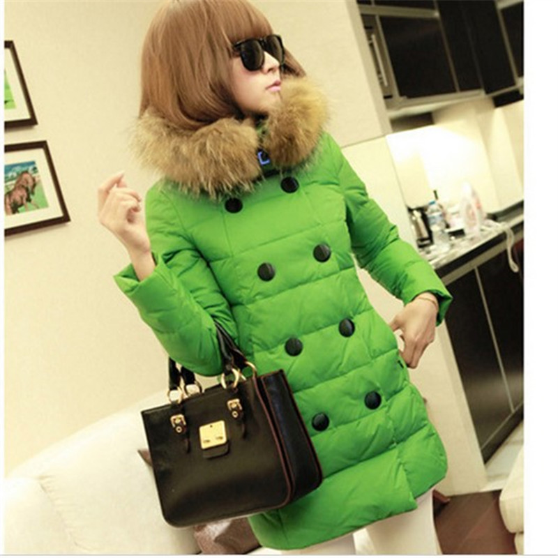 Clearance 2016 Winter Jacket Women Fur hooded Parkas Double Breasted Coat candy colored plus size DC003 - Charming Life Store store