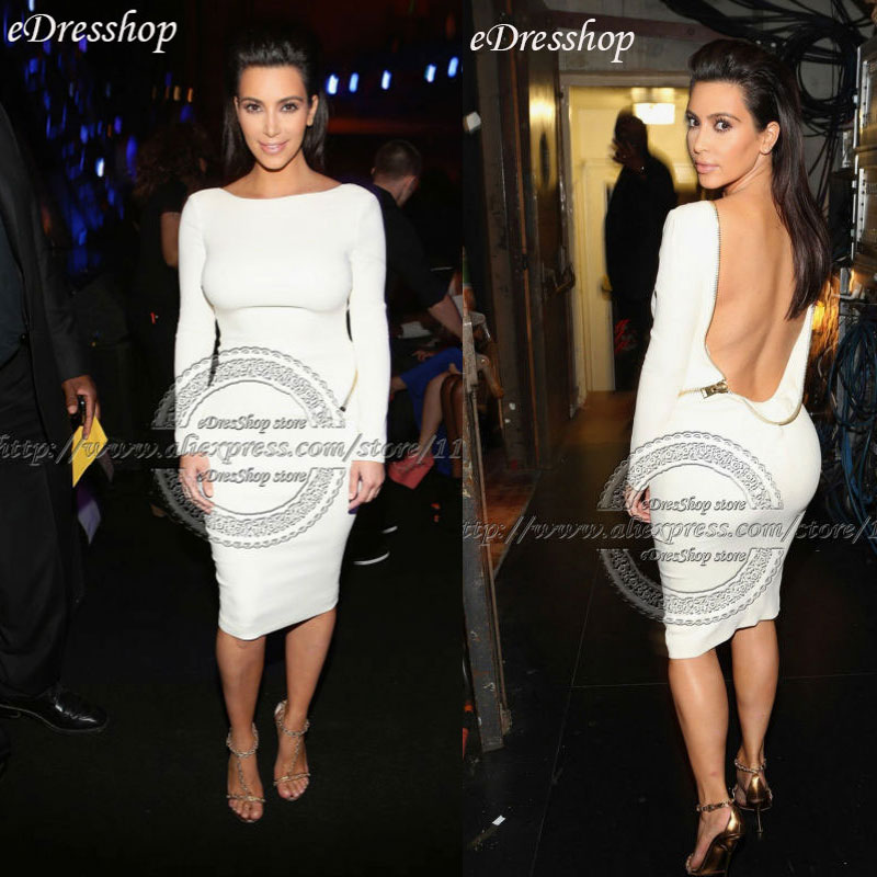 kim kardashian sexy open back long sleeves knee length
