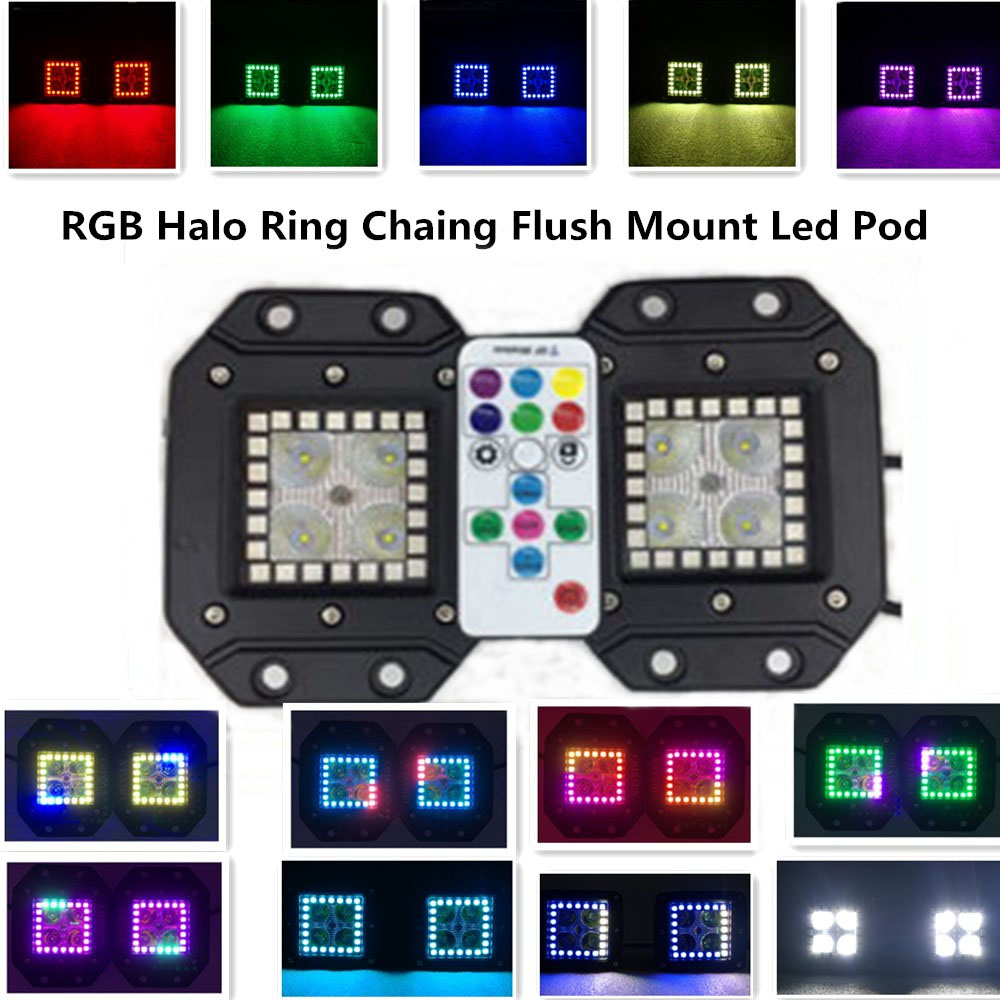 2pcs 16w 3.2Inch Flush Mount Led Pod with RGB Halo Ring Flow Remote Controller Color Changing Cree Led Work Ligh Wire Harness(China (Mainland))