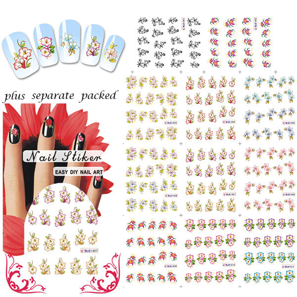 HOTSALE 20 Sheet/LOT Flower NAIL STICKER NAIL TATTOOS STICKER FOR NAIL accessories,88 different designs+individually packaging(China (Mainland))