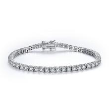 High-end 925 sterling silver classic prong setting cubic zircon tennis bracelet wedding bijou pulseras wholesale
