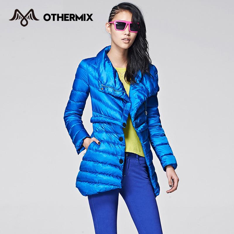 OTHERMIX 2014 winter mock-two lapel stitching thick long jacket women3MV4112J