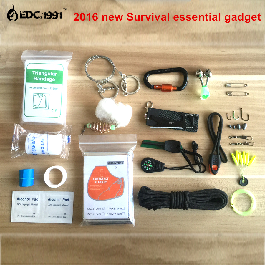 SOS 2016 NEW camping equipment paracord Parachute Cord carabiner flint and steel carbine Match Lighter edc survival dry bag Set(China (Mainland))
