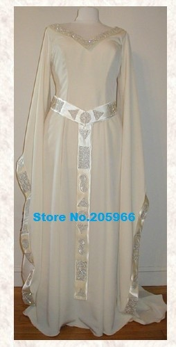 Custom Made Medieval Celtic Accolade Gown Renaissance Silk Satin Wedding Gown/Party Costume/Tudor Dress(China (Mainland))