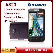 Wholesale Support Russian language Lenovo A820 phone mtk 6589 Quad-Core CPU 1.2 1GB RAM 4.5″Inch IPS Screen GPS 3G free shipping