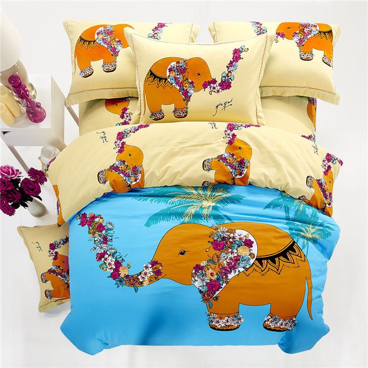 Elephant Bedding Sets King Queen Size Cartoon Quilt Duvet