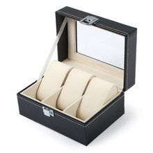 The New Listing 3 Grids Black PVC Leather Watch Box Jewelry Display Box Transparant Skylighty Watch Box luxury Gift(China (Mainland))