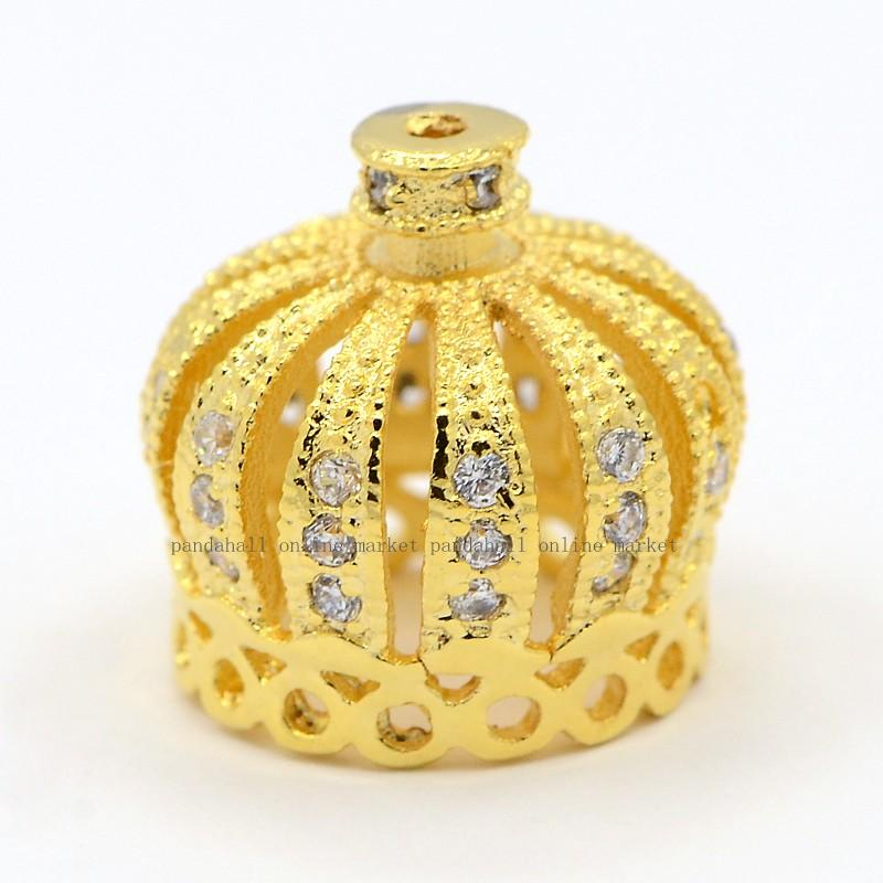CZ Jewelry Brass Micro Pave Cubic Zirconia Bead Caps, Crown, Golden, 13x13mm, Hole: 1mm