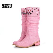 ZZYJ gran tamaño de la mujer botas de moda de otoño nuevas flores zapatos top señoras de la manera de la nieve del invierno botas de caballero botas de Mujer zapatos(China (Mainland))